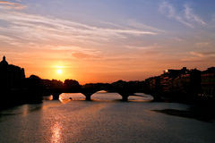 Sunset in old city (Florence) Royalty Free Stock Photo
