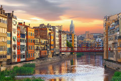 Sunset in Old Girona town,  view on river Onyar Royalty Free Stock Images