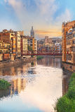 Sunset in Old Girona town, view on river Onyar Royalty Free Stock Photo