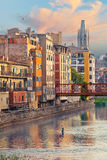 Sunset in Old Girona town, view on river Onyar Stock Images