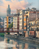 Sunset in Old Girona town, view on river Onyar Stock Photography