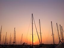 Sunset in old Jaffa Port, Israel. Sailboats, yachts, seaside, scenic, seascape, colorful Royalty Free Stock Images