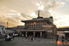 Sunset at old Nara train station Royalty Free Stock Photo