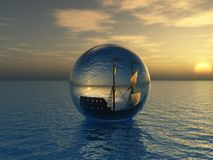 Sunset and old ship. Old ship in sphere (sunset Stock Photography