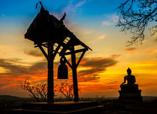 Sunset old Temple wat Praputtachai Stock Images