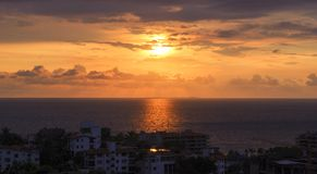 Sunset from old town Puerto Vallarta. Rooftop view of sunset from old town Puerto Vallarta Stock Images