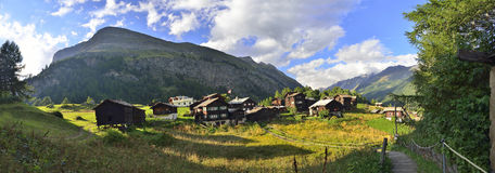 Sunset on an old village from Zermatt Royalty Free Stock Photography