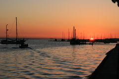 Sunset in Olhao. Sunset over the port of Olhao in the Algarve, Portugal Stock Image