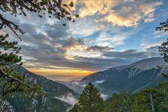 Sunset in Olympus mountains Royalty Free Stock Photography