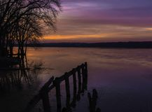 Sunset On The Mississippi River royalty free stock photography