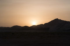 Sunset in Oman. Sunset in desert country Oman, Sur stock photography
