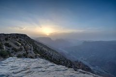 Sunset in the Omani mountain. Sunset in the mountains in the Kingdom of Oman. Location Al Jebal Akhdar Stock Image