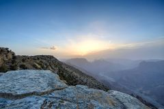 Sunset in the Omani mountains. Sunset in the mountains in the Kingdom of Oman. Location Al Jebal Akhdar Royalty Free Stock Images