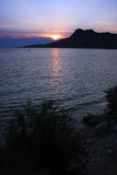 The sunset in Omis, Croatia Stock Image