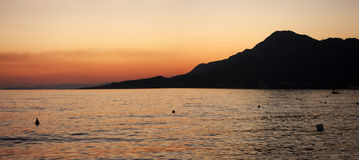 The sunset in Omis, Croatia Royalty Free Stock Photography
