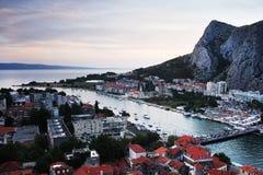 The sunset in Omis, Croatia Stock Photo