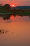 Sunset On Lake At Summer Stock Photo