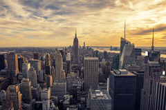 Sunset On Manhattan Royalty Free Stock Photo