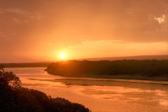 Sunset On River Estuary Stock Image