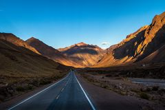 Free Sunset On Ruta 7 The Road Between Chile And Argentina Through Cordillera De Los Andes - Mendoza Province, Argentina Stock Photography - 123944692