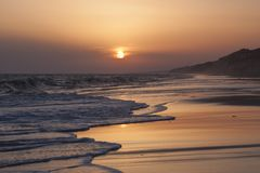 Sunset On The Beach In Mazagon, Huelva Stock Photos