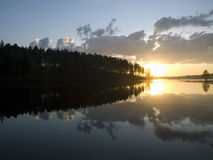 Sunset On The Calm Forest Lake Stock Image