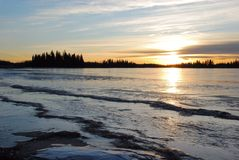 Sunset On The Ice Covered Lake Royalty Free Stock Image