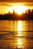 Sunset On The Ice Lake Royalty Free Stock Photos