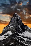 Sunset On The Matterhorn Stock Image