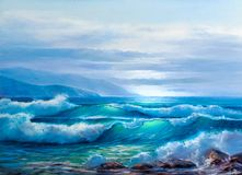 Free Sunset On The Sea, Painting By Oil On Canvas Stock Photography - 160697652
