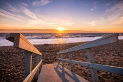 Sunset on one of Malibu`s sandy beaches, the Pacific Ocean coast. Line, Los Angeles county, California stock images