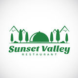 Sunset Or Sunrise Valley Abstract Vector Logo Royalty Free Stock Image