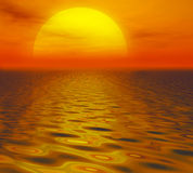 Sunset in orange. Image of the sun setting over the ocean with orange and red hues royalty free illustration