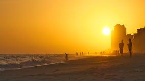 Sunset on Orange Beach Alabama with fog stock photos