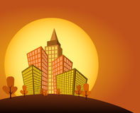 Sunset on orange city. With buildings Royalty Free Stock Photo