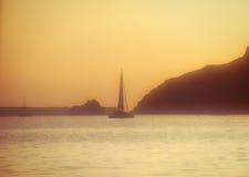 Sunset. In orange color on the sea near santorini island Stock Image