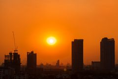 Sunset in city Royalty Free Stock Photo