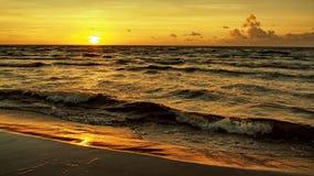 Sunset orange sky sea coast Stock Photo