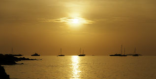 Sunset with orange sky in the sea. Sunset in the sea and many yachts royalty free stock photo