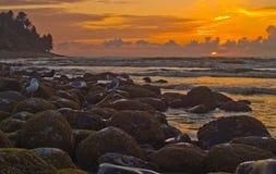Sunset on the Oregon Coast 2. The sun is setting on the rocky beach of Seaside on the Oregon Coast Royalty Free Stock Image