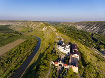Sunset in Orhei, Republic of Moldova, Aerial view. With the old Church at The Old Orhei royalty free stock photography