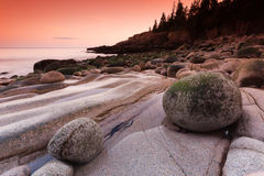 Sunset on Otter cliff in Maine, USA stock images