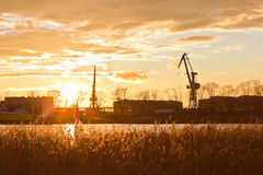 Sunset on the outskirts of Gdansk, Poland Royalty Free Stock Photography