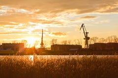 Sunset on the outskirts of Gdansk, Poland Royalty Free Stock Photography