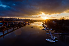 Sunset over Ada marine channel Royalty Free Stock Image