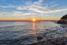 Sunset over Adriatic Sea in Croatia Stock Image