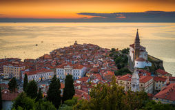 Sunset Over Adriatic Sea and Old Town of Piran, Slovenia Stock Photography