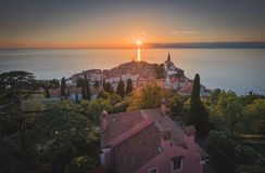 Sunset Over Adriatic Sea and Old Town of Piran, Slovenia Royalty Free Stock Photography