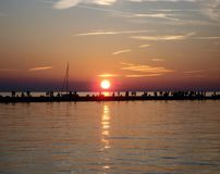 Sunset over the Adriatic sea in Trieste, Italy stock photos