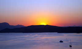 Sunset over Aegean sea. Greece, 2009 Royalty Free Stock Images